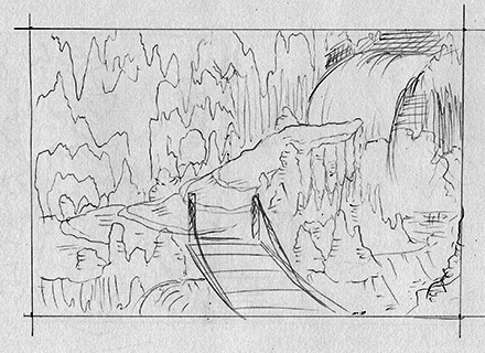 Meteor Falls Concept Sketch Background Final Draft One