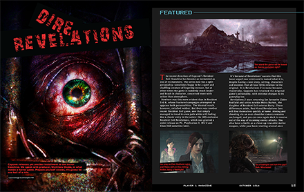 Player 1 Magazine Dire Revelations Article Spread One