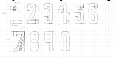 RIDE Typeface Process Grid Sketch Two