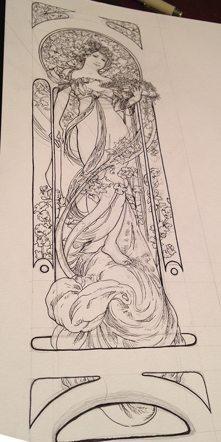 Alphonse Mucha White Star Replica Illustration Process Sketch Four
